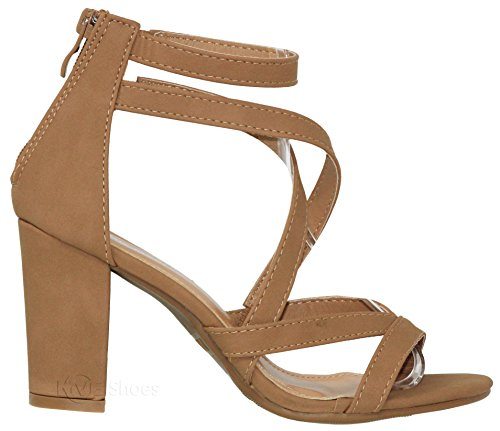 Party Heeled Sandal Tan Shoes MVE Sandal Strappy Open Dress Sexy Chunky Toe Heel Stacked Comfy h6 Women's wUHUqA7