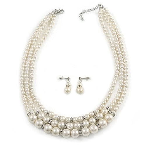 (Avalaya 3 Strand Light Cream Simulated Glass Pearl with Crystal Ring Necklace & Drop Earrings Set in Silver Plated Metal - 50cm L/ 5cm Ext)