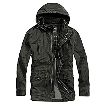 Wlilicici New Men Business Cotton Hooded Outwear Coat