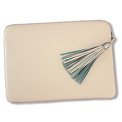 BFB Laptop Case 13 Inch Laptop Sleeve - Luxury Designer Handmade Genuine Leather Laptop Case Cover for MacBook Pro Air Laptop Bag for 12 Inch - 13. 5 Inch Lenovo Dell Hp ASUS Acer Chromebook - Cream ()