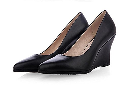 Womens Pointed toe Chaussures confortables Wedge talon solide couleur chaussures peu profonde bouche cour , black , 39