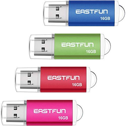 EASTFUN 4 Pack 16GB USB 2.0 Flash Drive Memory Stick Thumb D
