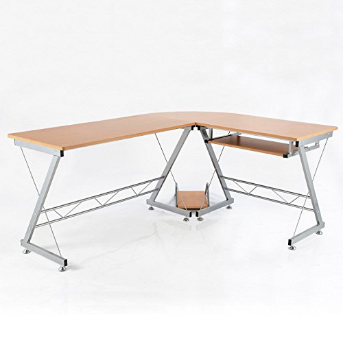 "HomCom 67"" Wooden Corner L-Shaped Computer Desk With Keyboard Tray - Natural ()"