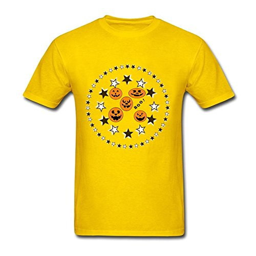 New Coming Men's Halloween Boo 100% Cotton Short Sleeve T-Shirt Yellow M