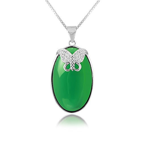 "Price comparison product image The Starry Night Oval Shape Green Agate Chalcedony Pendant Diamond Accented Butterfly 17.72"" Silver Chain Necklace"