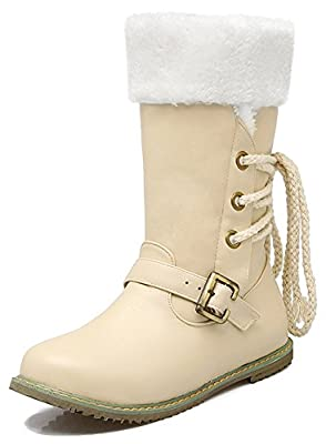 Summerwhisper Women's Stylish Buckled Strap Back Lace up Round Toe Flats Fleece Lined Mid Calf Snow Boots