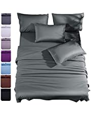 """Shilucheng Queen Size 6-Piece Bed Sheets Set Brushed Microfiber 1800 Thread Count Percale - 16"""" Deep Pocket Egyptian Sheets Beautiful Breathable Wrinkle Free & Fade Resistant (Queen, Dark Grey)"""