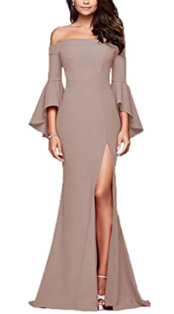 Womens Vintage Elegant Long Sleeve Off Shoulder Neckline Dress,Prom Gown Dress Elegant Dress