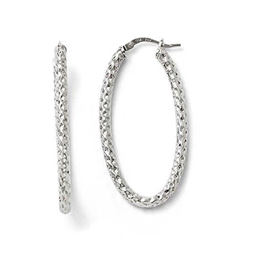 3mm Textured Oval Hoop Earrings in Sterling Silver, 42mm (1 5/8 (3mm Hammered Hoop Earrings)