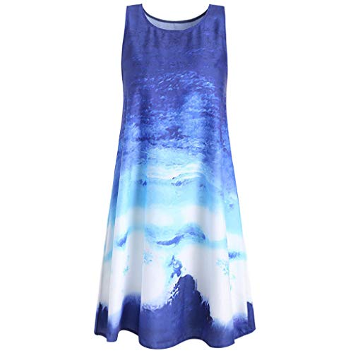 chuxin huang Women Boho Casual Print Round Neck Summer Sleeveless Tank Party Dress Blue