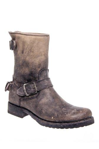 Frye Veronica Back Zip Short Low Heel Moto Mid Calf Boot - S