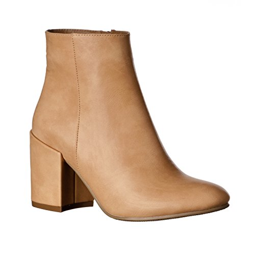 (Riverberry Women's Tori Chunky, High Heel Ankle Bootie Boots, Natural, 7)