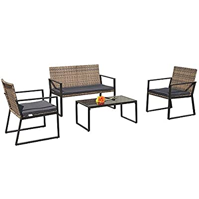 Patiorama 4 Pieces Patio Loveseats Outdoor Furniture Sets with Seat Cushions, Outdoor PE Wicker, Gradient Brown - 【Attractive Design】Constructed from durable PE wicker which is environmental friendly and a beautiful addition to any outdoor living area 【Upgraded Comfort】Comes with lofty sponge padded seat cushions for more comfort and relaxation 【Sturdy】Powder coated steel frame makes table and chairs rust resistant and sturdy enough to support up to 300lbs - patio-furniture, patio, conversation-sets - 41 McJWIaXL. SS400  -
