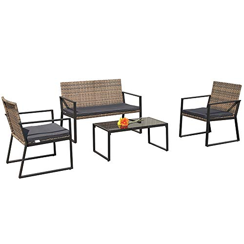 atio Loveseats Outdoor Furniture Sets with Seat Cushions, Outdoor PE Wicker, Gradient Brown ()