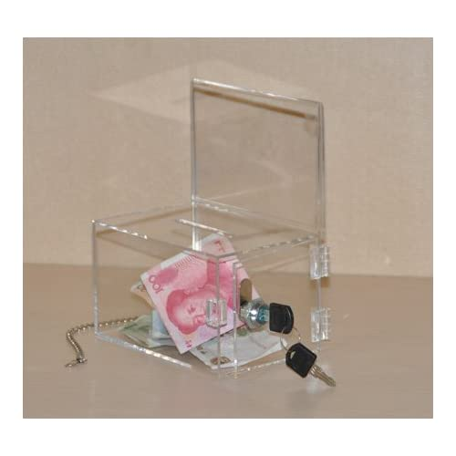 (Pack/2units) Lockable Acrylic Charity / Donation / Ballot / Suggestion/ Tip Box Container with Metal Chain