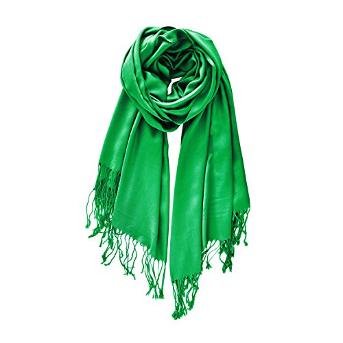 """Women's Scarf - Ladies Pashmina Shawls - Silky Soft Feel Wrap - Extra Large 70.5 x 28.5"""" - Solid Colors - by PARAMARIBO (Kelly Green)"""