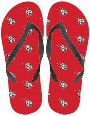 Rhodes Ladies Full Color Flip Flops Lynx Head