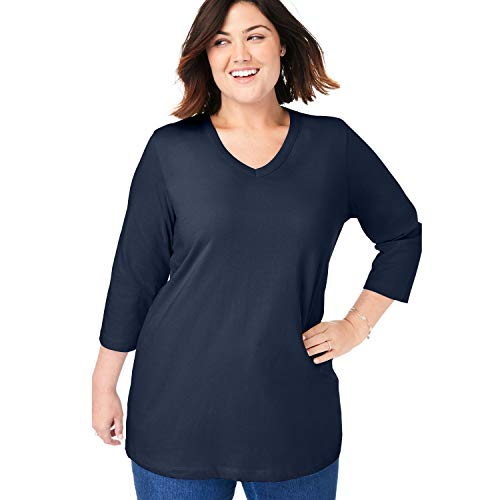(Woman Within Women's Plus Size Perfect V-Neck Three-Quarter Sleeve Tee - Navy, L)