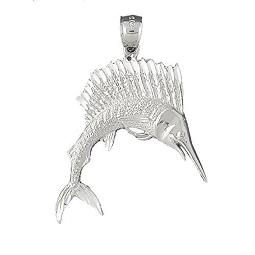 14k White Gold Sailfish Pendant (24 x 21 mm) by K&C