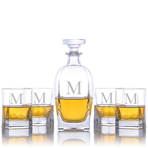 (Personalized Luigi Bormioli Rossini Lead-Free Liquor Decanter & 4 Bormioli Alfieri Tumbler DOF Glasses Engraved & Monogrammed - Great Groomsmen Gift)