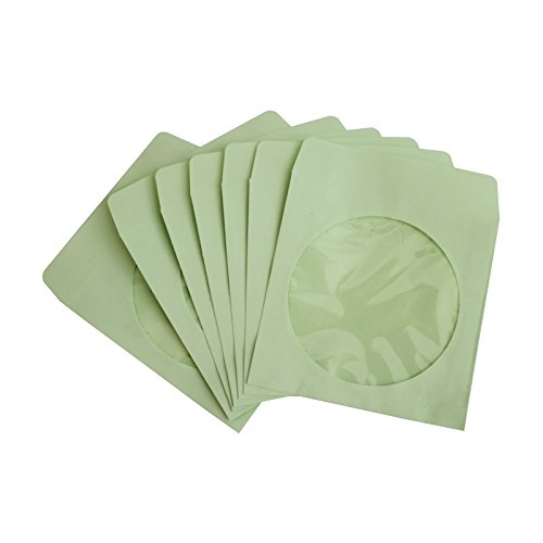 NuLink Paper CD DVD Sleeves Envelope with Window Cut Out and Flap [1000 Packs, 80G Green, 5 in x 5 in] (Window Clear Sleeve Paper Flap)