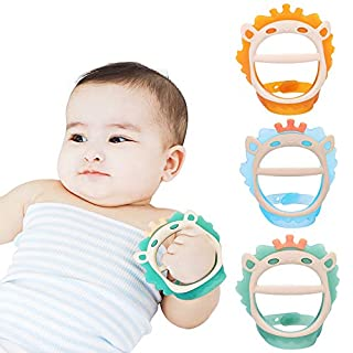 Baby Teething Toys for 0-6 and 6-12 Months Teethers 3packs for Infants, BPA-Free, Eco-Friendly Non-Toxic Silicone, Adjustable Wristband Chew Natural teethers for Babies