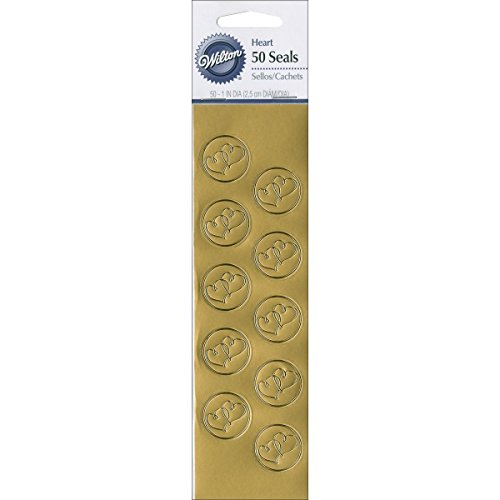 Wilton Gold Heart Seals (Pack of 50)