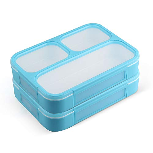 New Japanese Bento Lunch Box - Leakproof Bento Lunchboxes, Lunch Containers 3 Compartments (2-Pack), no smells, food prep, meal planning, Microwave and Freezer Safe - FDA Approved and BPA Free by New Tomorrow