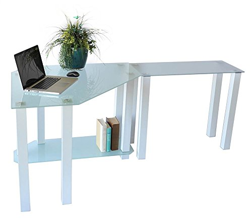 RTA Home and Office CT-013RW Frosted Tempered Glass Corner Computer Desk with Modular Right Extension Table, Gloss White