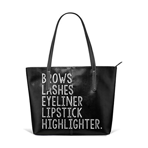Durable Brows Lashes Eyeliner Lipstick Leather Handbag Tote Bag For Women's