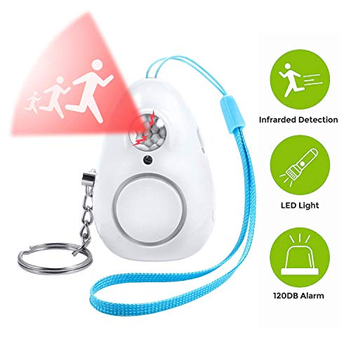 RayCue Emergency Safety Alarm, Personal Security Alarm Keychain with LED Lights, Safe Sound Personal Alarm for Women, Men, Children, Elderly (White)