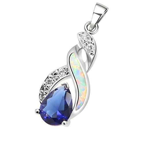 Opal White Gold Necklace (Hermosa Necklace Pendant 925 Sterling Silver Rose Gold Australian Opal Fire Topaz (Silver White))