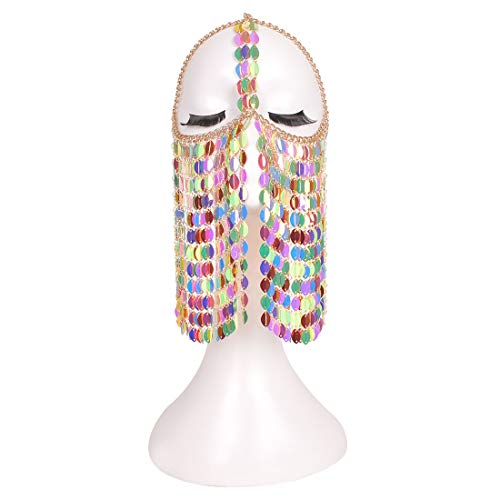 Chain Necklace Halter - CCbodily Coloful Masquerade Mask Fashion Paillettes Bra Halter Choker Necklace Body Lingerie Metalic Bikini Party