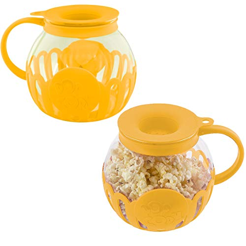 Ecolution (2 Pack) Popcorn Maker Glass Microwave Popcorn Popper With Butter Melter For Movie Style Popcorn
