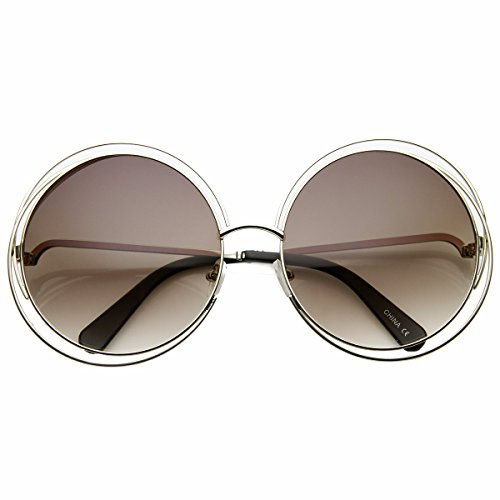 zeroUV - Women's Oversized Full Metal Wire Frame Glamour Round Sunglasses (Silver - Sunglasses Wireframe