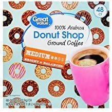 Great Value Donut Shop 100% Arabica Ground Coffee Medium 48 count