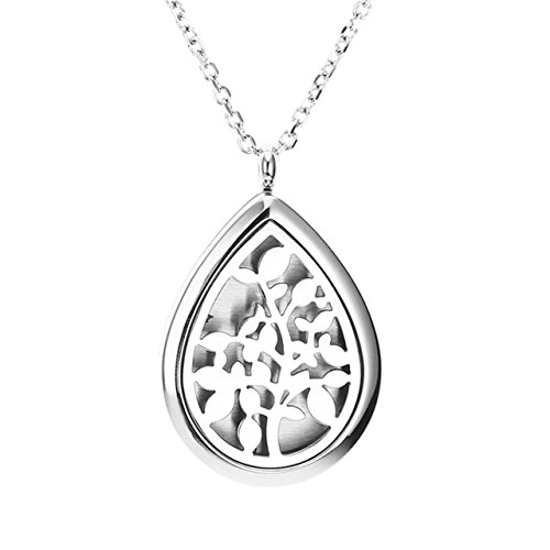 Zysta Essential Oil Diffuser Necklace - Fragrance Aromatherapy Perfume Pendant Stainless Steel Locket with 6 Refill Pads and 24 Inch ()