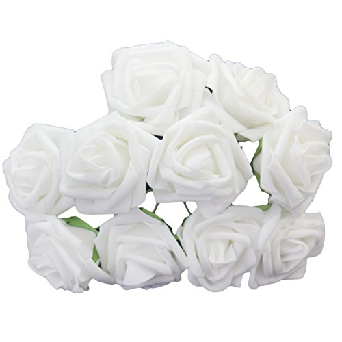 10 Pcs Classic White Ivory Beige Artificial Foam Rose Flowers for Wedding Bridesmaid Bridal Bouquet (Coral Turquoise Flower)