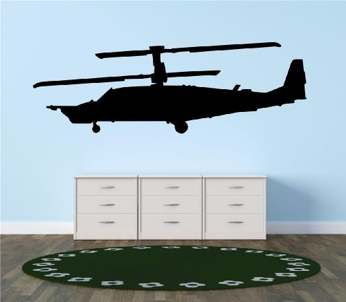 Boeing AH-64 Apache War Attack Helicopter four-bladed twin-engine Aircraft Bedroom Living Room Picture Art Graphic Design Image Vinyl Wall Decal Peel & Stick Sticker Mural Size : 24 Inches X 72 Inches - 22 Colors Available ()
