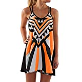Womens Summer Dress Sleeveless Boho Geometric Print Mini Tank Dress Plus Size Beach Casual Sundress Short Dress (Orange, S)