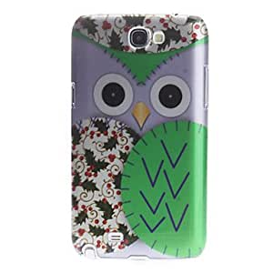 Nsaneoo - 3D Effect Green Owl Pattern Hard Case for Samsung Galaxy Note 2 N7100