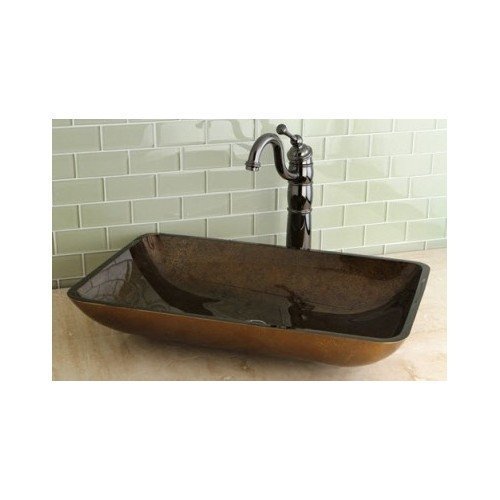 Rectangle Tempered Glass Vessel Sink, Non-porous, Scratch Resistant, Stain Resistant by Rectangle Tempered by Rectangle Tempered