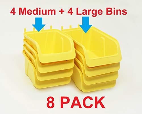 8 Pack Pegboard Bin Kit Parts Storage Craft Organizer Tool Workbench Accessories 4 Large and 4 Medium Bins