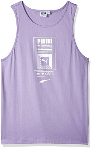 (PUMA Men's Logo Tower Tank Top, Purple Rose, L )