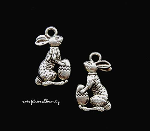 Cast Charms Metal (10 Easter Bunny Egg Antiqued Tibetan Silver Bead Drop Two Sided Jewelry Charms)