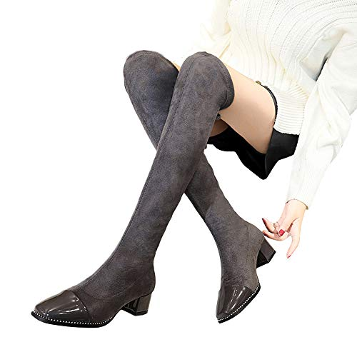 Fitfulvan Women Boots Lace-Up High Over The Knee Boots High Heels Martin Shoes (Gray,5.5)