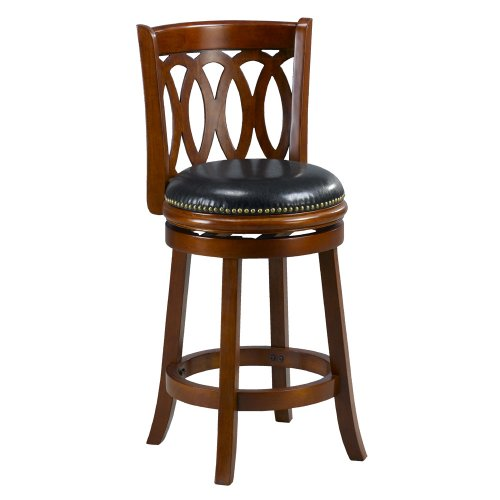 Mintra Cherry Finish Spiral Back 24 Inch Swivel Counter Stool Home