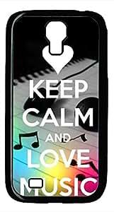 Samsung Galaxy S4 I9500 Black Hard Case - Keep Calm Love Music Galaxy S4 Cases