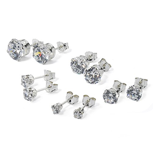 Sterling Silver CZ Stud Earrings Set 3mm 4mm 5mm 6mm 7mm Round Sparkling Clear Cubic Zirconia