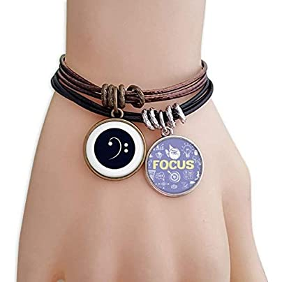 SeeParts White Music Bass Clef Black Bracelet Rope Wristband Force Handcrafted Jewelry Estimated Price £9.99 -